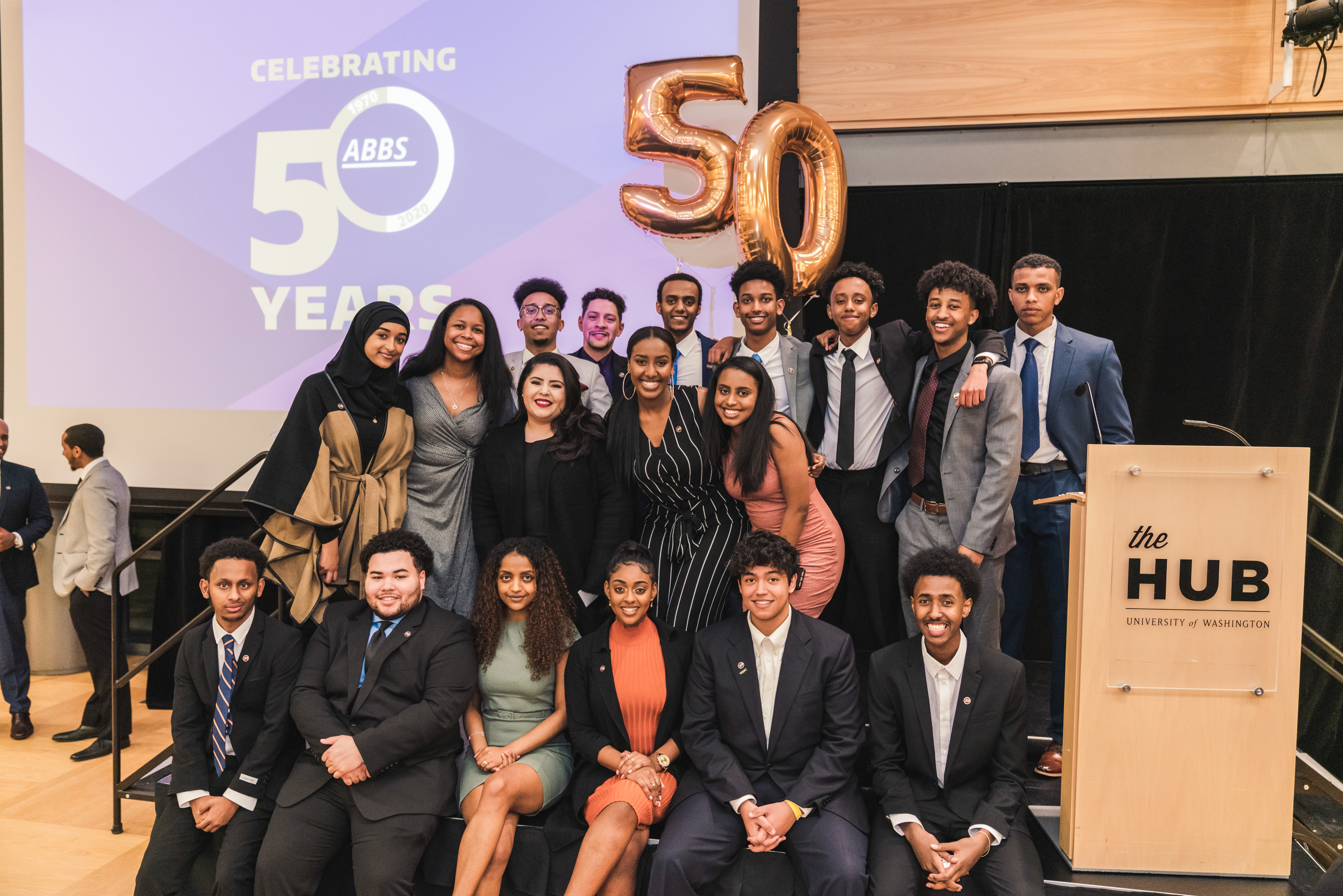 The Association of Black Business Students (ABBS) and National Association of Black Accountants (NABA) 2019-2020 Executive Boards celebrate at the ABBS 50th Anniversary Dinner.