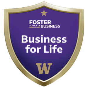 a facimile of the Foster Business for Life badge